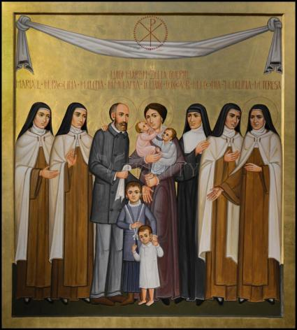 Wood Plaque - Sts. Louis and Zélie Martin with St. Thérèse of Lisieux and Siblings by P. Orlando