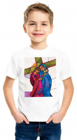 Youth T-shirt - Stations of the Cross - 04 Jesus Meets His Sorrowful Mother by M. McGrath