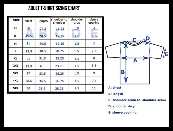 Size Chart Adult T shirt shirts trinity stores