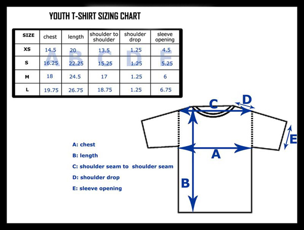 Our t-shirts for kids are generally loose fitting for both boys and girls. Measurements are of the actual tee. To ensure a great fit when ordering your t-shirt, be sure to consult the size charts above.